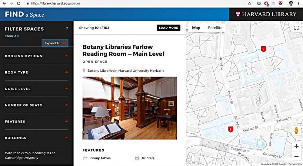 The Harvard Library team has been redesigning their websites and digitizing the library experience. As a UXR intern in the Digital Strategies and Innovation group, I applied a mixed methods approach to identifying current and potential users of Harvard's library services, understanding how these personas use various library services (both digital and non-digital) so as to accommodate their needs and pain points, and determining what kinds of new tools would be useful to them, all with the goal of increasing the use and relevance of services across different platforms. -