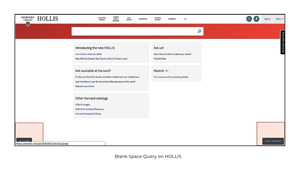 Blank Space Query in HOLLIS
