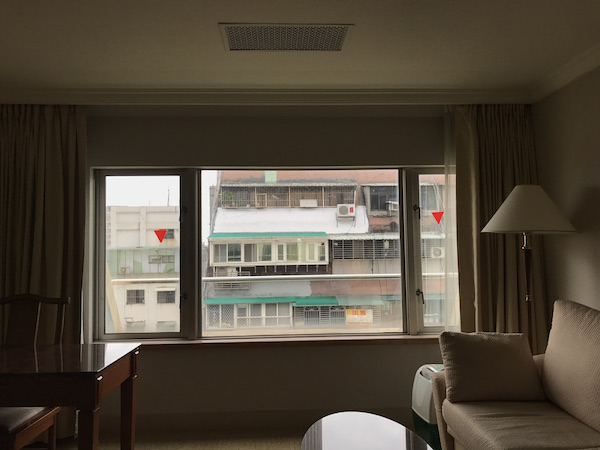 Dong Wu Hotel room, 10th floor. Red triangles mean caution, not enter... Ha!