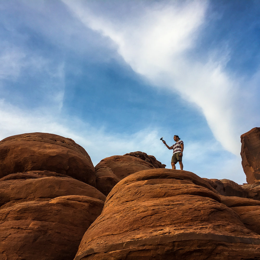 My buddy Jason working on some video. This was his first time to Moab, it really blew his mind…