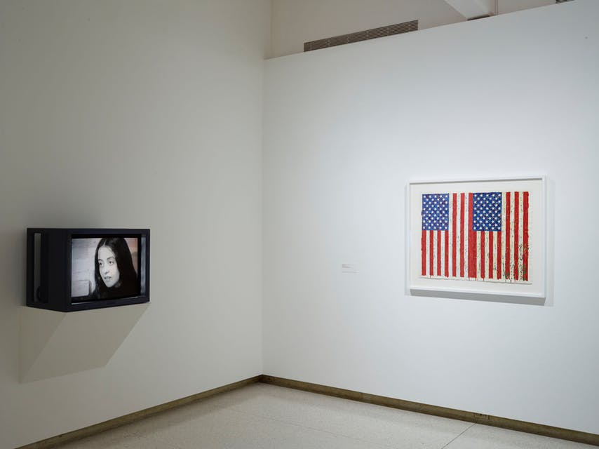 View of the exhibition  Less Than One , 2016; (left to right) Adrian Piper  The Mythic Being  (1973) Jasper Johns,  Flags I , 1973 (Photo: Gene Pittman, ©Walker Art Center)