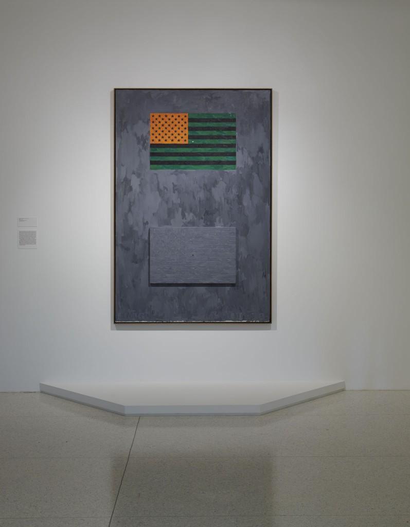 View of the exhibition  Less Than One , 2016; Jasper Johns, Flags , 1965 (Photo: Gene Pittman, ©Walker Art Center)