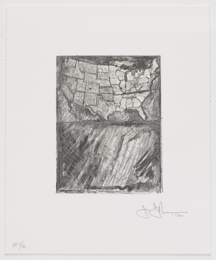 Jasper Johns,  Map from the portfolio  Artists for Obama , 2012, 14 x 11-1/2 inches. © Jasper Johns/Licensed by VAGA, New York, NY