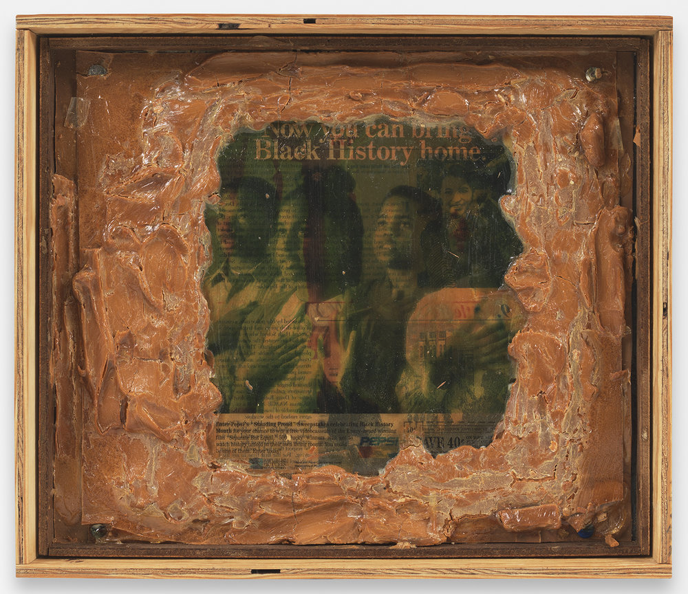 Pope. L  Truth and Time a.k.a. Now You Can Bring Black History Home , 1994, Gel medium, magazine photos and peanut butter on plywood with thumbtacks in plywood container, 13 1/8 by 15 1/4 by 3 in. © Pope.L. Courtesy of the artist and Mitchell-Innes & Nash, NY.