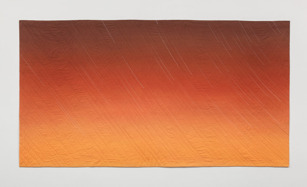 """Anna von Mertens, """"Gold! Gold! Gold from the American River!"""" (Sunset, January 24, 1848, Sutter's Mill, Coloma, California), 2008, hand-dyed, hand-stitched cotton, 54 x 100 in.Image courtesy of the artist."""