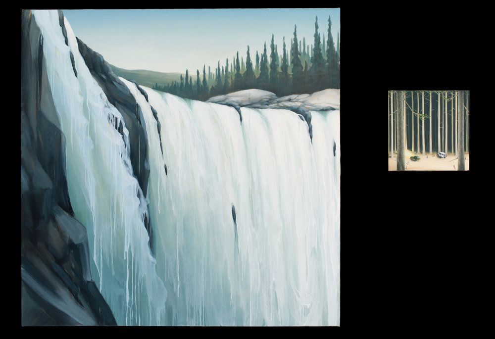 Dan Attoe ,  The Sound of the Falls  , 2017, 48 x 48 and 12 x 12 in. Courtesy of the artist and Western Exhibitions.