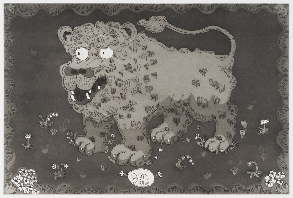 Jeffry Mitchell,  Blake's Lion,  2018,   15 x 22 in, Hard ground and aquatint with chine colle, Edition of 10.