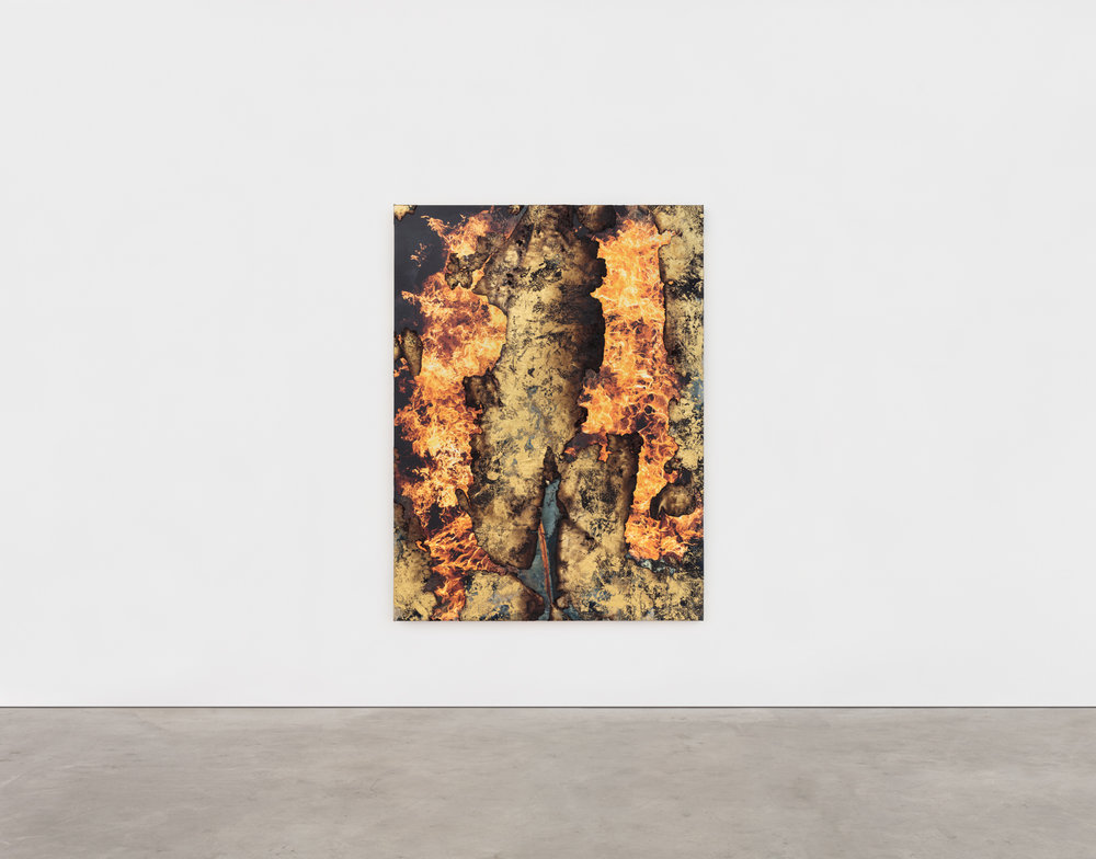 Korakrit Arunaondchai,  Painting with History in a room filled with windows looking over Gobekli Tepe and dreaming,  2018, 86 x 64 inches, Bleach denim, gold foil, Inkjet Print on canvas, Acrylic Polymer. Image courtesy of the artist and CLEARING Gallery, New York