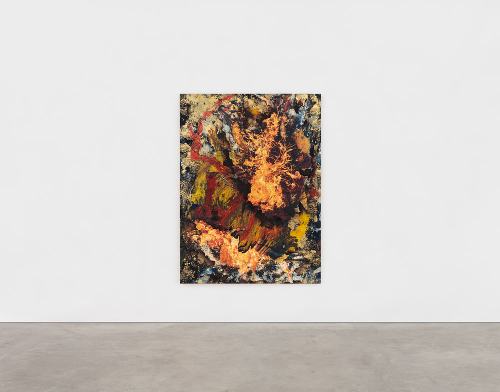 Korakrit Arunaondchai,  Painting with History in a room filled with people with funny names with paints on our bodies , 2018, 86 x 64 inches, Bleach denim, gold foil, Inkjet Print on canvas, Acrylic Polymer. Image courtesy of the artist and CLEARING Gallery, New York