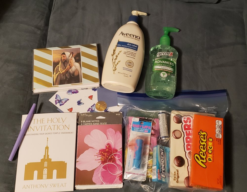 Another box of love… - I came home late one night to this sitting on my doorstep! Lots of wonderful things to keep me busy while in chemo. There's also a blanket but I didn't get that in the shot! I love being loved.