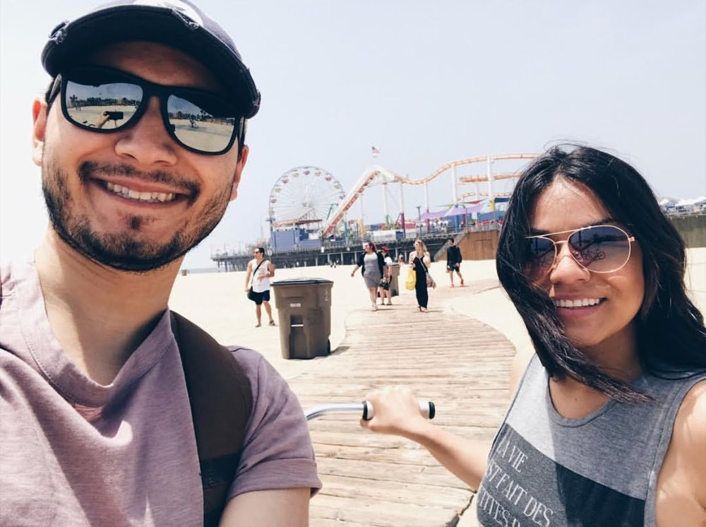 Here's one of us during our date DAY in Santa Monica. We rented bikes for the day for only $15!