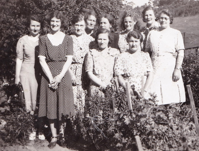 Figure 1: Back row: Effie Lewis, Mrs Strange, Mrs Daphne Lewis, Mrs L Terril, Mrs Marjorie Jacobs, Ruby Edwards. Front row: Mrs Basey, Mrs Brumby, Mrs Davis, Vera Stone (Effie's sister)