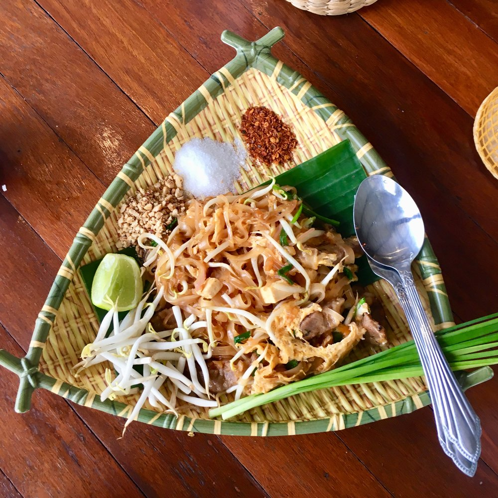 Very good Chicken Pad Thai from   Tarnpawa Coffee   in Amphawa