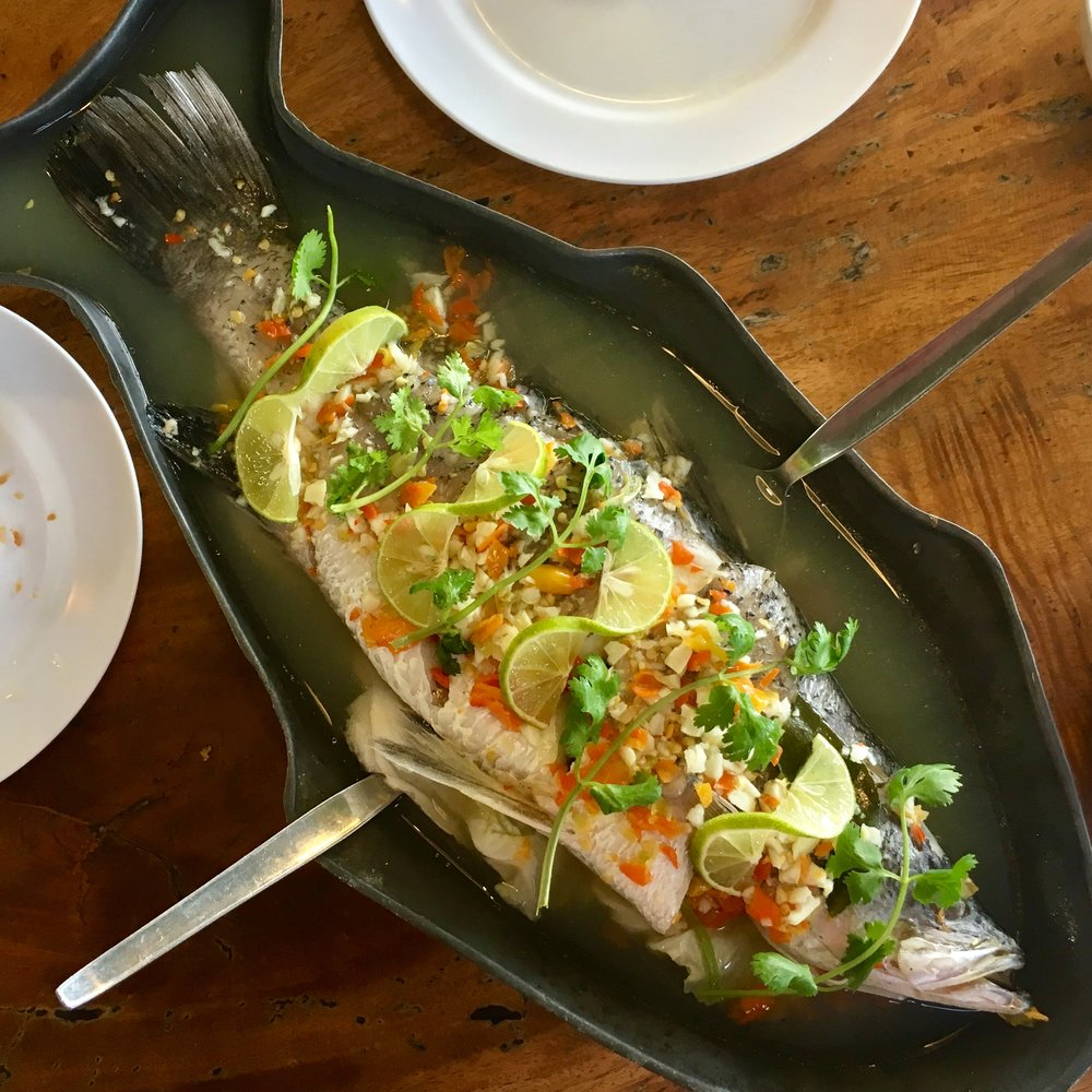 Steamed whole fish from Playaem Seafood in Ko Siray, Phuket