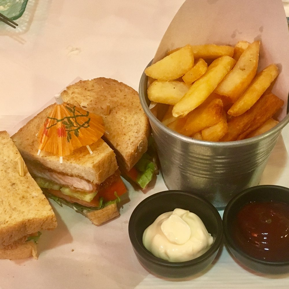 Tonkatsu sandwich and fries from the *super good*   Osaka Recipe   in On Nut, Bangkok