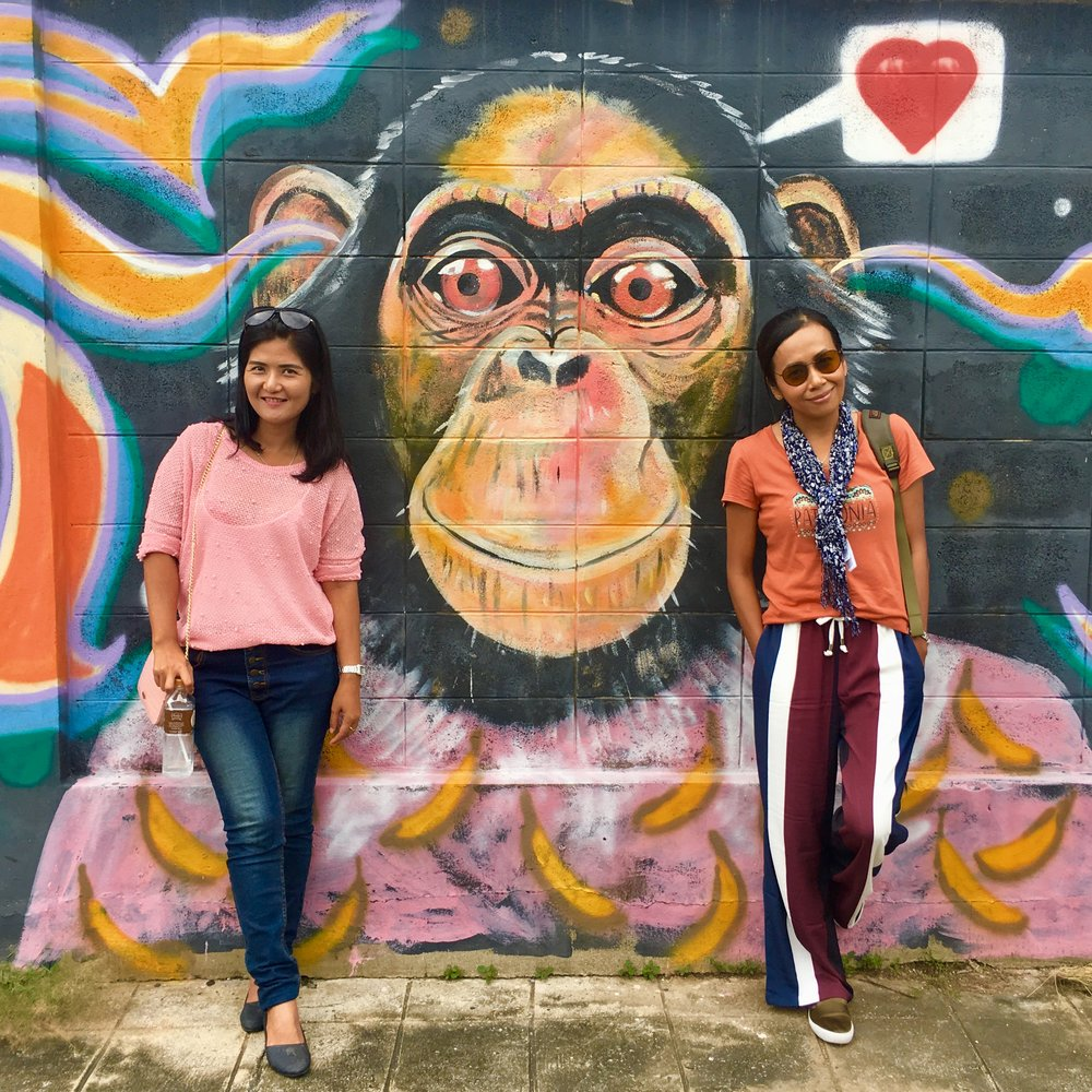 Rose (left) and Renu (right) with a friend in the middle