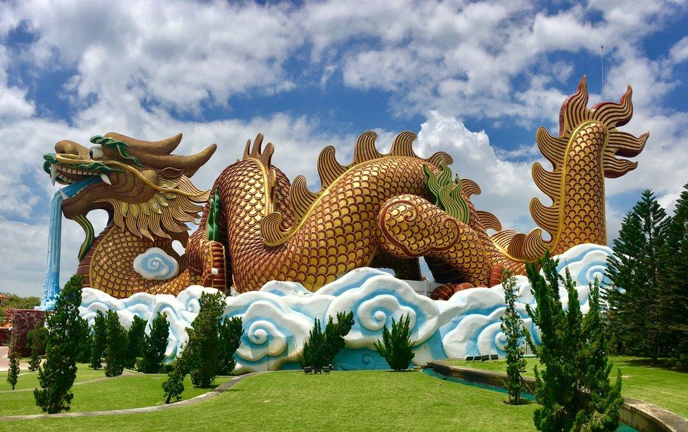 At the Nea Suphanburi City Pillar Shrine / Celestial Dragon Village is this really impressive and massive dragon — inside the dragon is actually a museum!