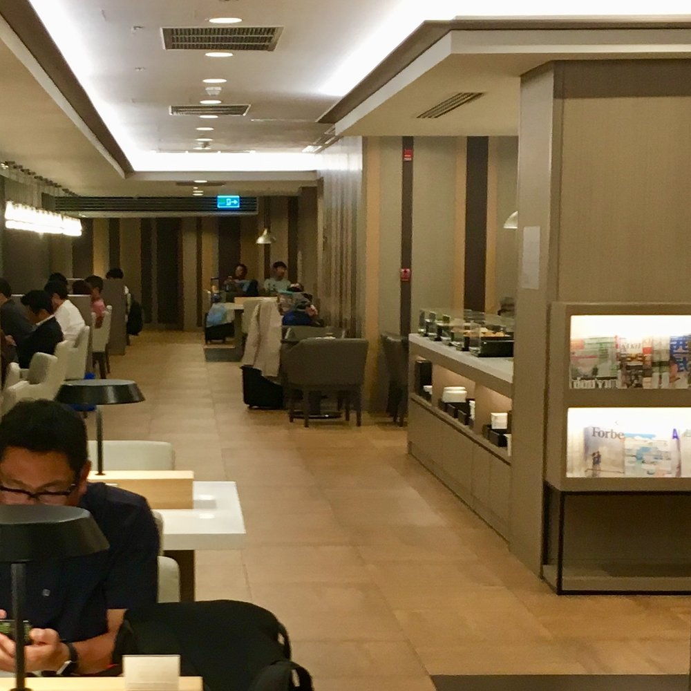The unremarkable but fine JAL business class lounge at BKK, if you have a night flight though, do make sure you grab a snack before you leave as you get basically nothing on the plane until right before you land in Tokyo!