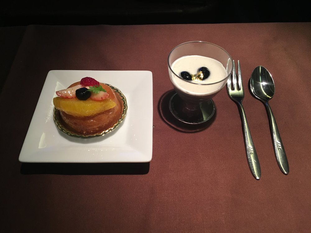 The dine-on-demand sweet options were a bit limited (booo says this fatty with a sweet tooth) but what they did have — a fruit savarin and a black sesame mousse — was yummy.