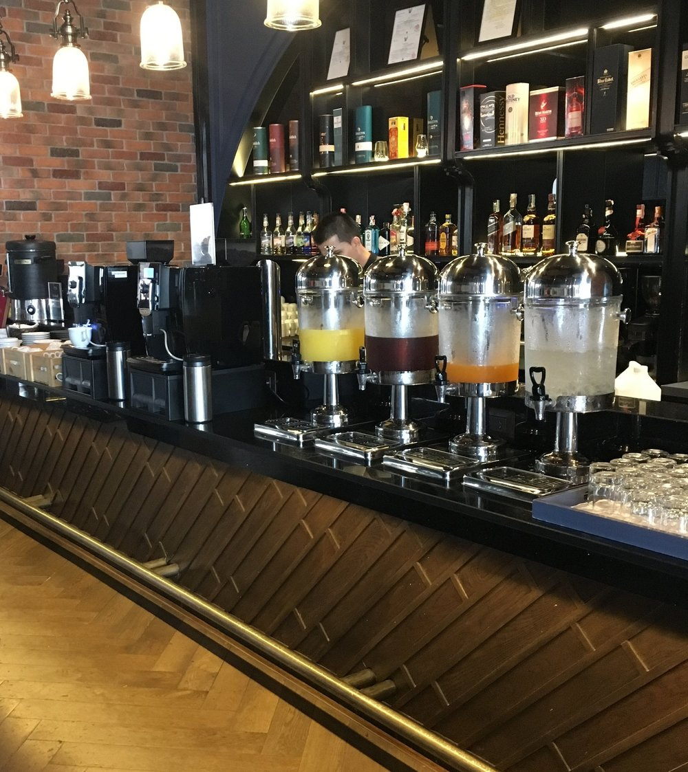 Lots of breakfast beverages and juices with coffees made to order at the breakfast buffet