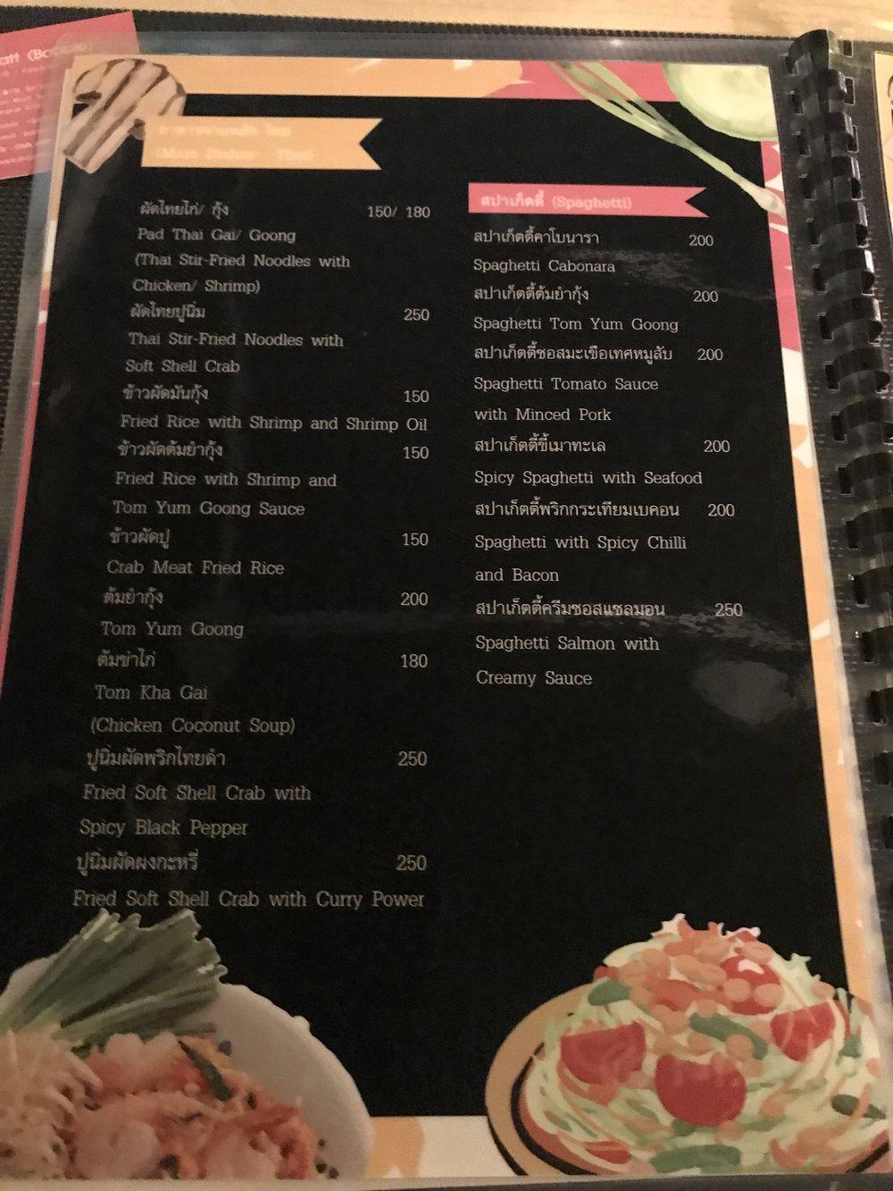 Varied menu with reasonable prices
