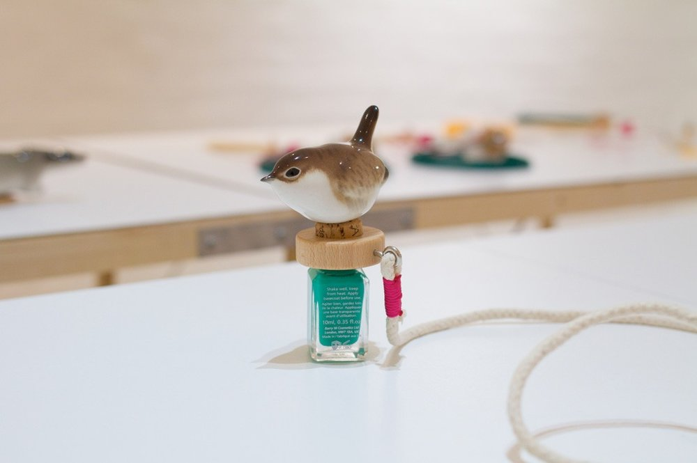 Paint Bomb  Porcelain Wren, rolling pin, nail varnish, wine cork, thread, sash cord; 2014