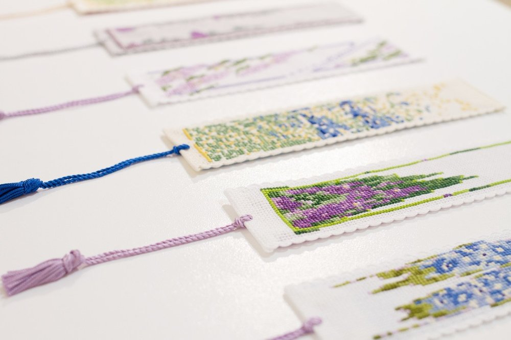 Bookmark Kits  Aida fabric, embroidery silk, cord; 2014