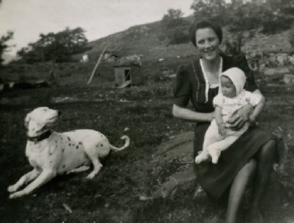 My grandmother and Ian and Pongo the Dog - gardenof the Post Office