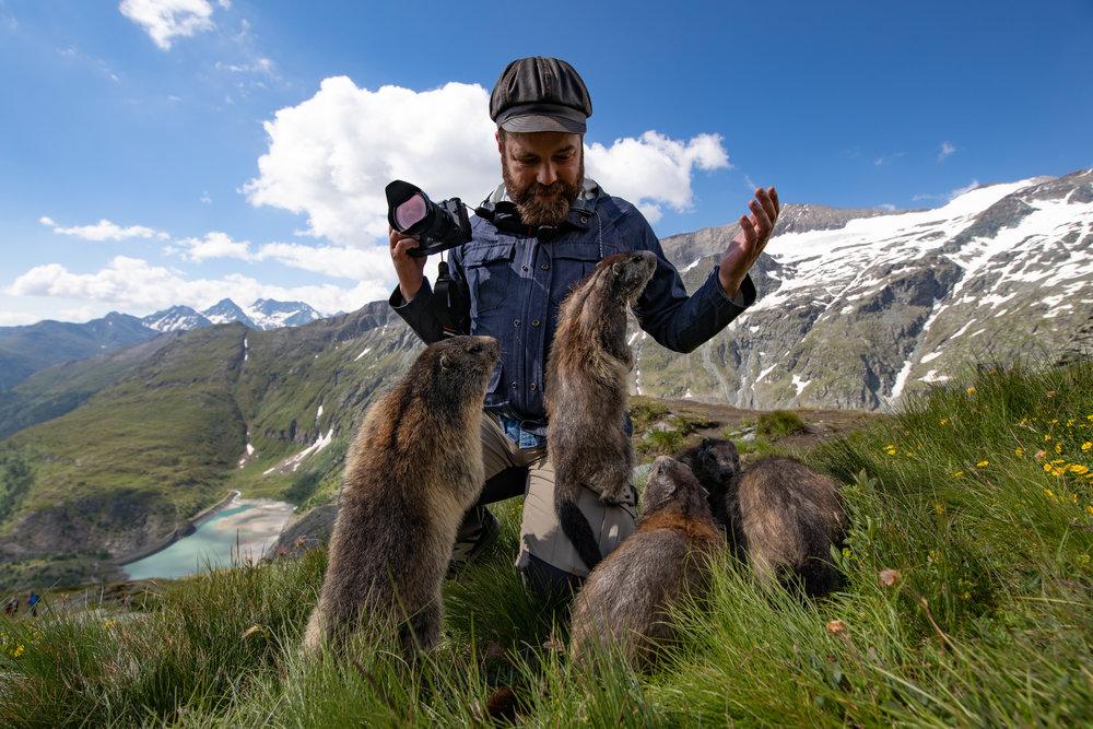 Det här är jag och en massa murmeldjur.  Foto: Marisol Correa.