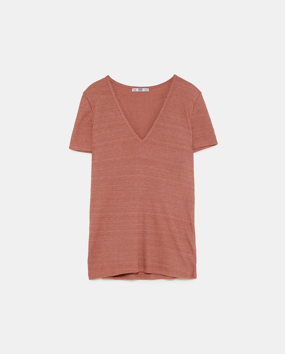 Zara ribbed top, brick, £12.99