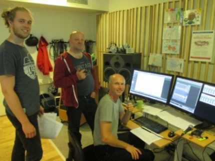 From right:  Henrik Winther  (recording and editing),  Flemming Bjerg  (consultant regarding orchestration of the music), and  Mathias Myrthue Justesen  (assistant).