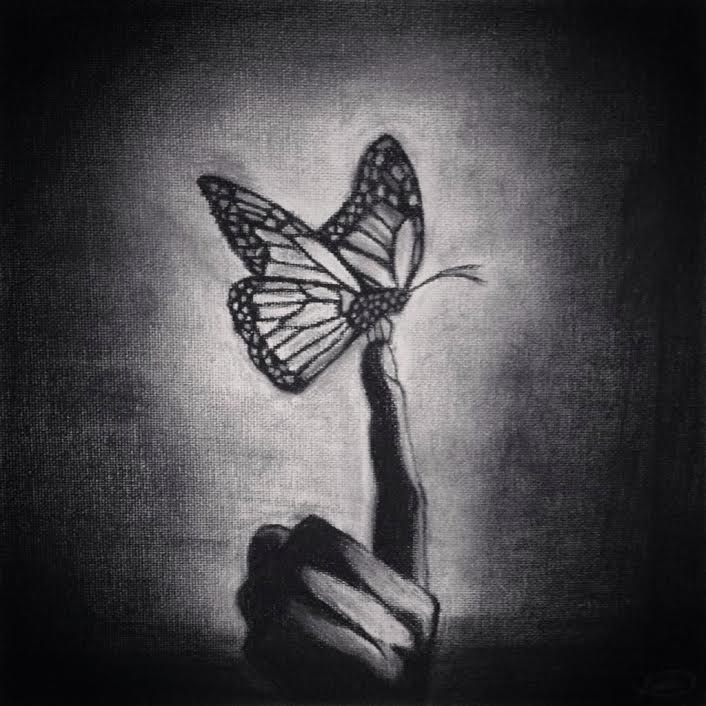 Flutter (Charcoal On Canvas 2012)