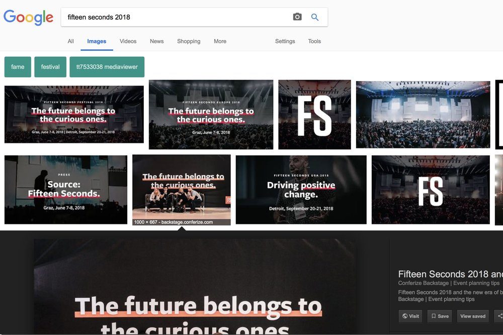 Our last article was a review of this year's Fifteen Seconds conference. Because we put relevant keywords in the file names and titles of the pictures in the article, they now show up when people search for images from the event, which can be another good organic traffic source for the article!
