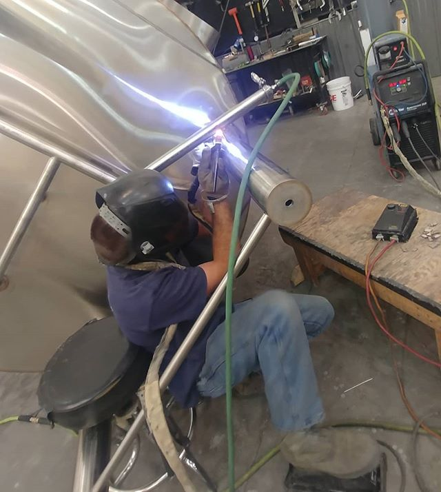Welding @inc_82. Legs required some tight, unique, out of position welding! #tig  #tigstainless  #sanitarywelds  #supportyourlocalbrewery  #drinklocal  #madeintheusa  #madeindelta  #welding