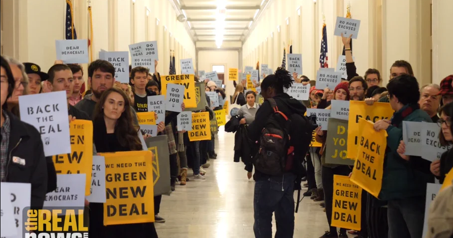 Ocasio-Cortez and Senator Ed Markey tabled a Green New Deal resolution, which pushes for transitioning the United States into using 100% renewable energy sources.