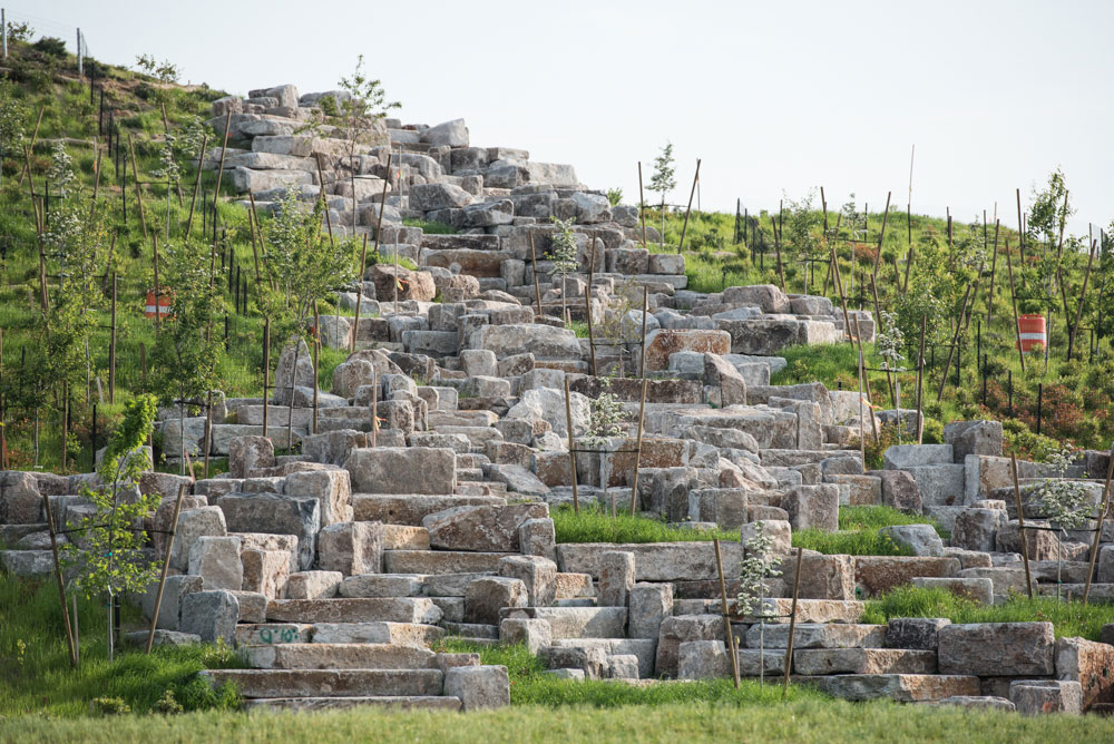 outlook hill is made of granite blocks from the old island sea wall.