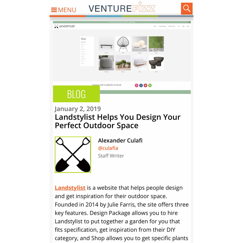 Landstylist is featured on  VentureFizz