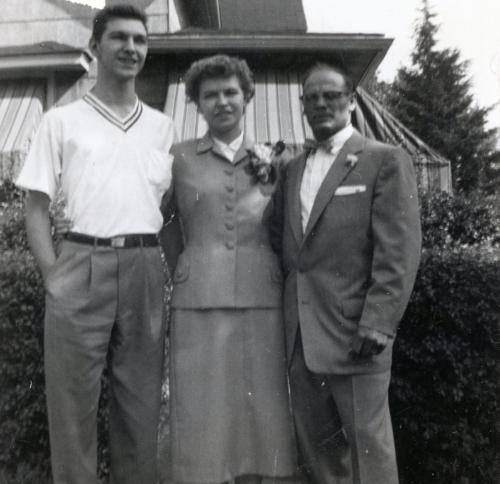 Roman Yurek (Minerva's brother), Minerva (nee Yurek) Schultz, and Walter (born Saleker) Schultz. 25 October 1954 Cleveland, Ohio. Personal collection of Owen M. McCafferty II ©2018