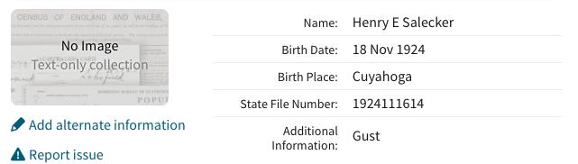 Ancestry.com. Ohio, Birth Index, 1908-1964 [database on-line]. Provo, UT, USA: Ancestry.com Operations, Inc., 2012.