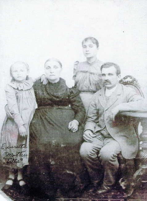 Tillie on the left as a young girl. Originally, I believed this photograph (from about 1896) was of the Wiemert family. But that is only half true. The man on the right who I assumed was Friedrich Wiemert is actually Esther's second husband August Dettmann. The other girl behind them is Anna Wiemert, August's step daughter. ©2018 Personal collection of the author.