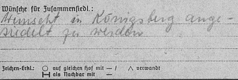 Note about Martha's desire to be relocated to Königsberg from the back of her EWZ-Card