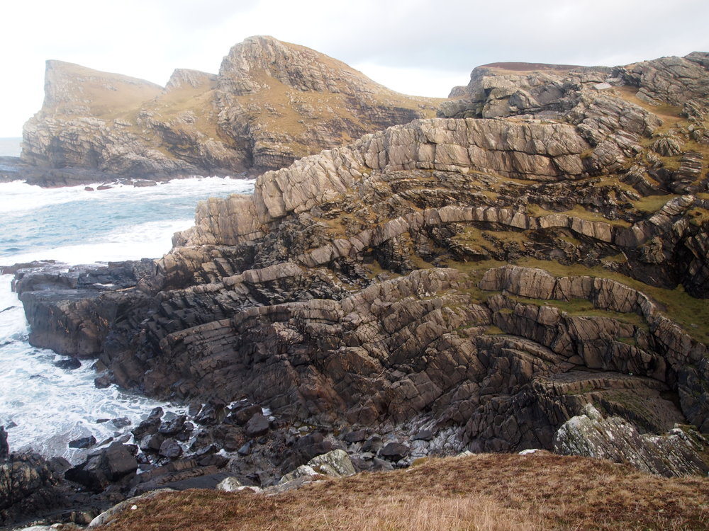 Folded metagreywackes of the Colonsay Group near Saligo Bay