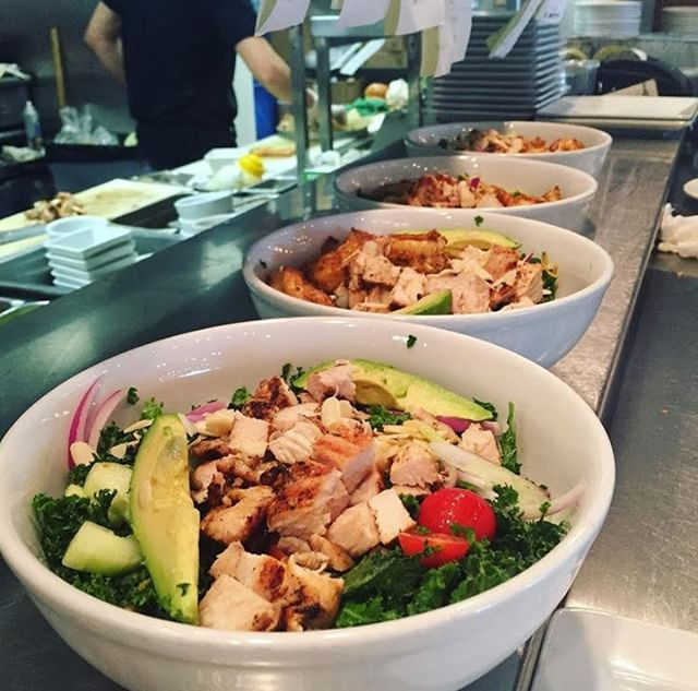 Our grain bowls are lined up and ready to be delivered to your tables! Add chicken, steak, salmon, shrimp, or a black bean patty on top to customize your favorite grain bowl 🥗🥑
