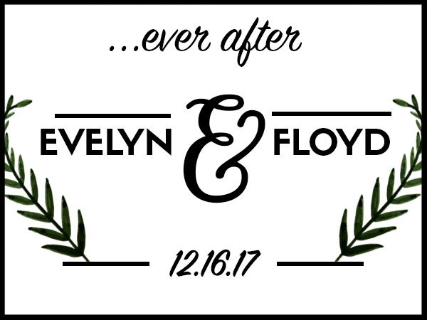 EVER AFTER  If names aren't relatively close in length, this would look best to use initials instead of full names.