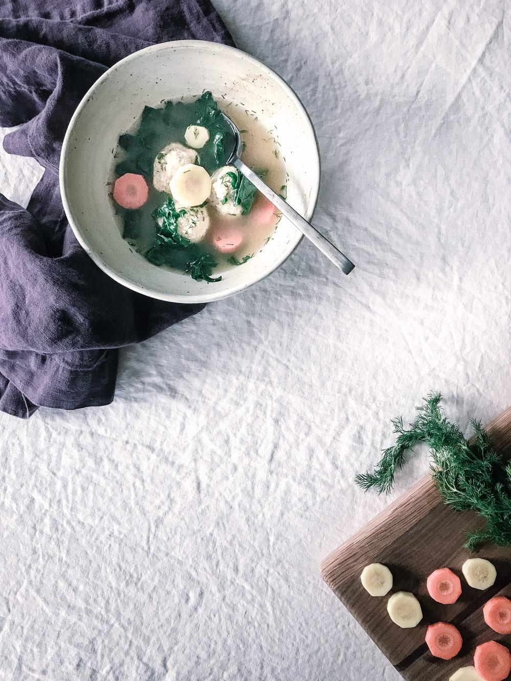 Wheat Free Bone Broth Matzoh Ball Soup | Nourish SF