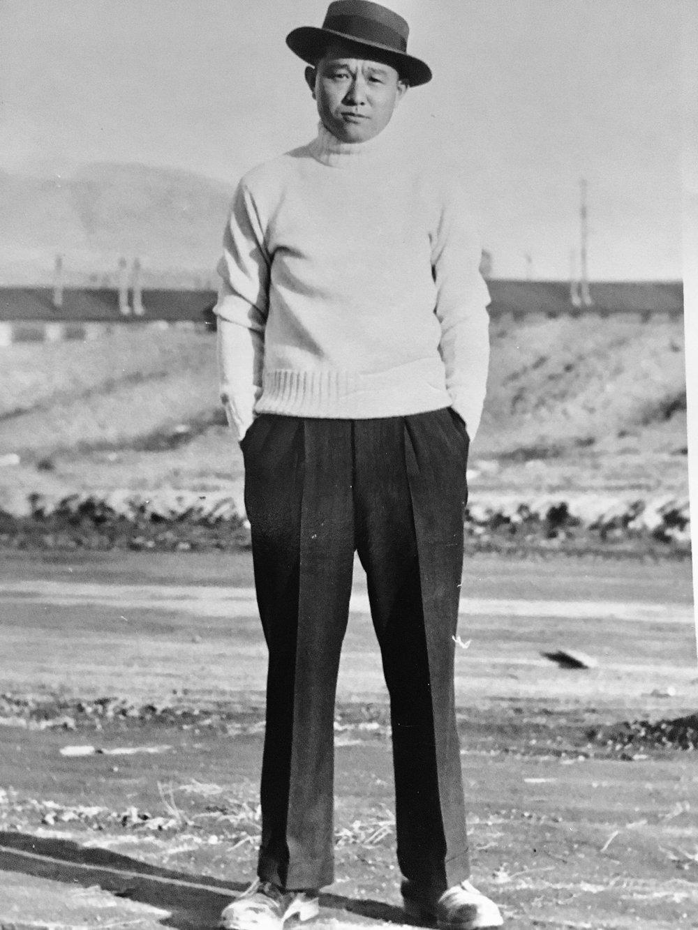 Tamotsu Tsuchida (Diana's grandfather) wearing a bad ass hat in Tule Lake