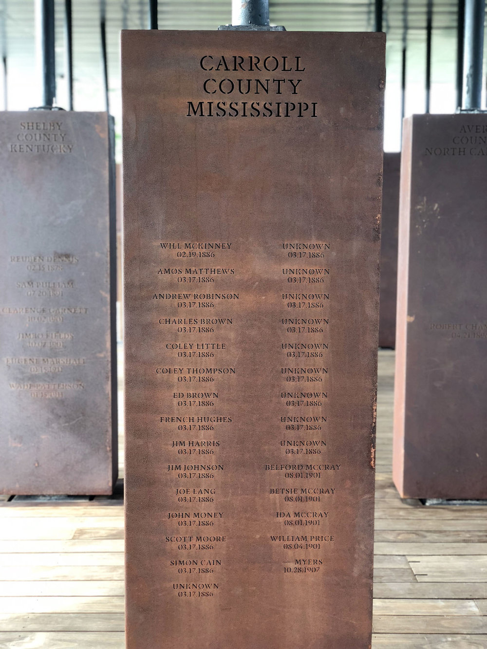 Each steel monument represents a county in which racial terror lynchings were ritualistically performed. They were spectator events; white families would send postcards with photos of lynchings in their town to family members.