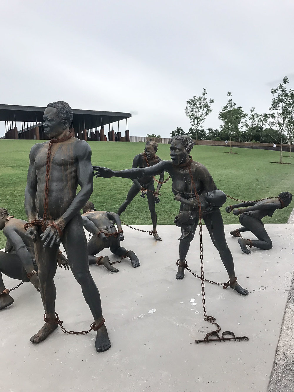 Sculpture by Kwame Akoto-Bamfo of enslaved African men and women at the National Peace and Justice Memorial. This heartbreaking piece is dedicated to the memory of the victims of the trans-Atlantic slave trade.