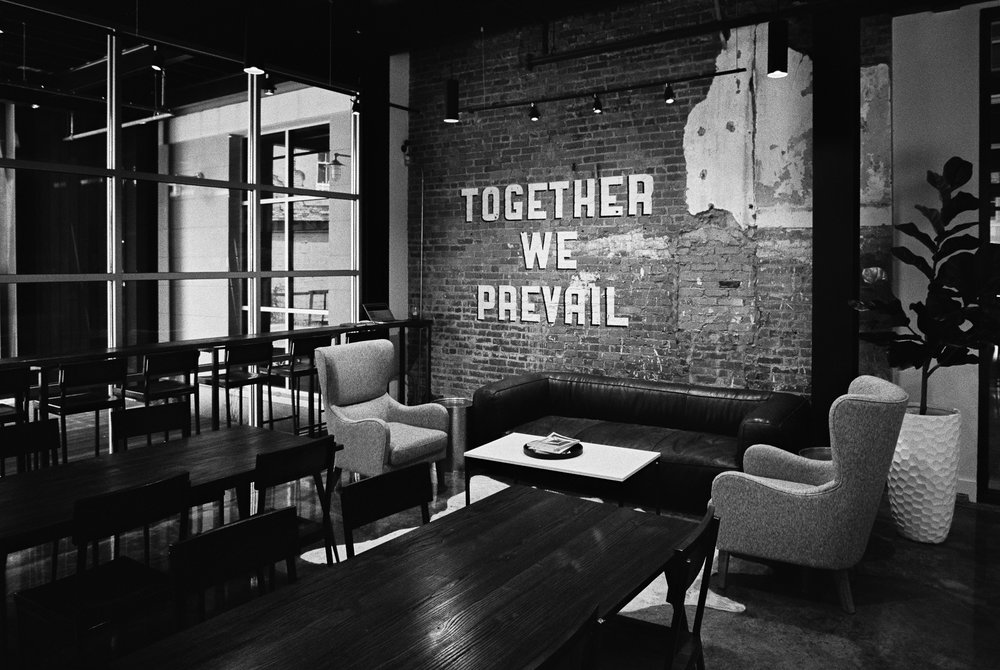 Prevail Coffee in the new Kress on Dexter, a mixed-use historical building. We came here for our morning coffee and a glass of wine in the pocket park in the evening! Photo  via