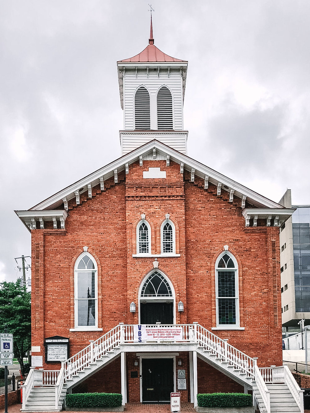 The Dexter Avenue Baptist Church, where Dr. Martin Luther King was a paster during the late 50's. It is one of the first African American churches in the country and was a key meeting location during the Civil Rights movement.